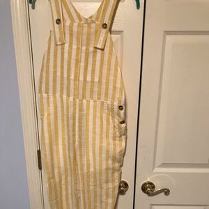 NWT UO pale yellow and white striped overalls